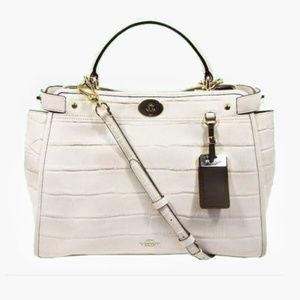 COACH Chalk Croco Embossed Leather Satchel Bag$695